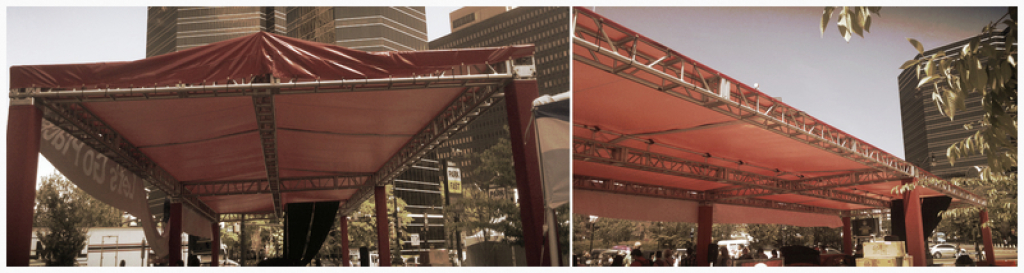 This truss structure adopted high strength aluminum, which have lightweight, good appearance, strong capacity.